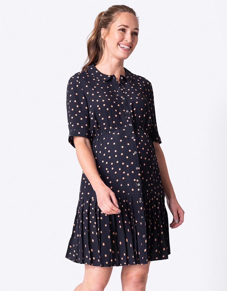Vintage Maternity Dresses and Clothes Polka Dot Button-Down Maternity Dress $89.00 AT vintagedancer.com