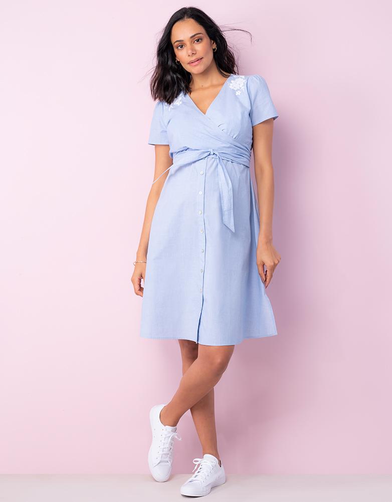 Vintage Maternity Dresses and Clothes Cotton Wrap Maternity  Nursing Dress $99.00 AT vintagedancer.com