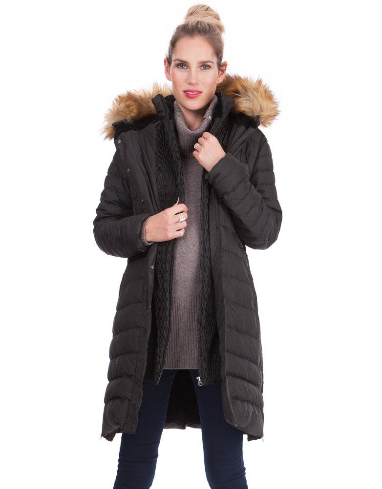Abrigo premamá acolchado con capucha de pelo Negro