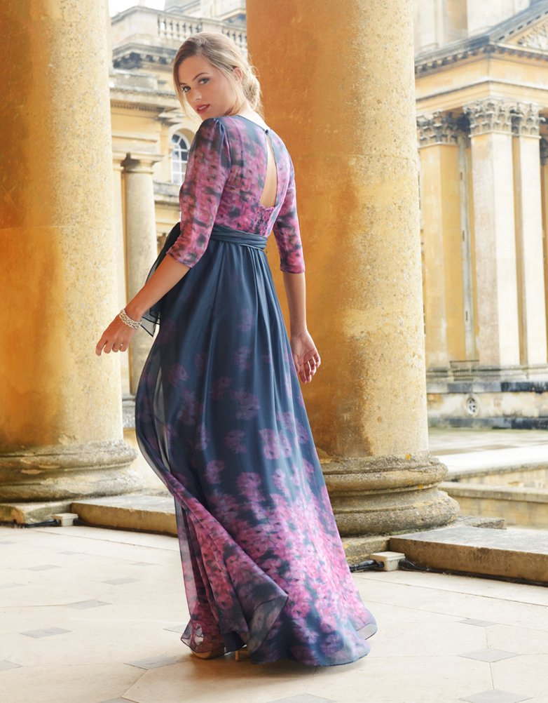 Robe longue grossesse en soie bleu marine fleurie