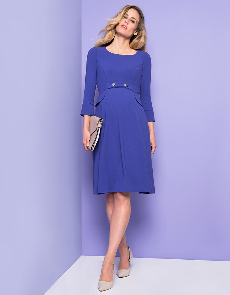Vintage Style Maternity Clothes Royal Blue Tailored Maternity Dress $155.00 AT vintagedancer.com
